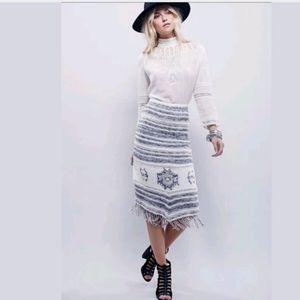 Free People my side fringe sweater blanket skirt